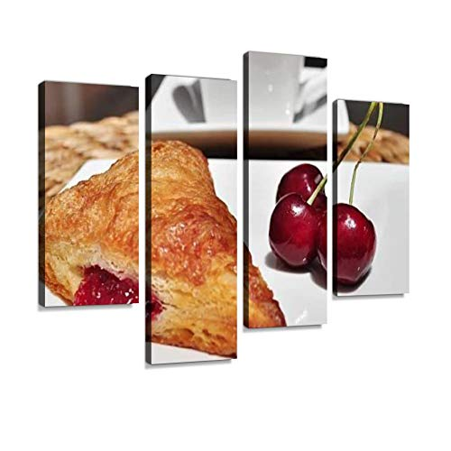 French Pastry. Cherry Turnover. Canvas Wall Art Hanging Paintings Modern Artwork Abstract Picture Prints Home Decoration Gift Unique Designed Framed 4 Panel