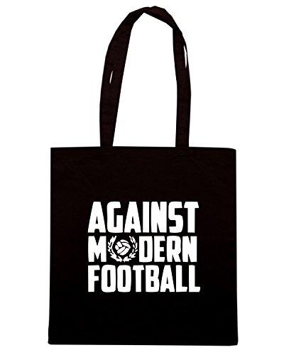 T-Shirtshock - Bolsa para la compra TUM0161 AGAINST MODERN FOOTBALL Negro