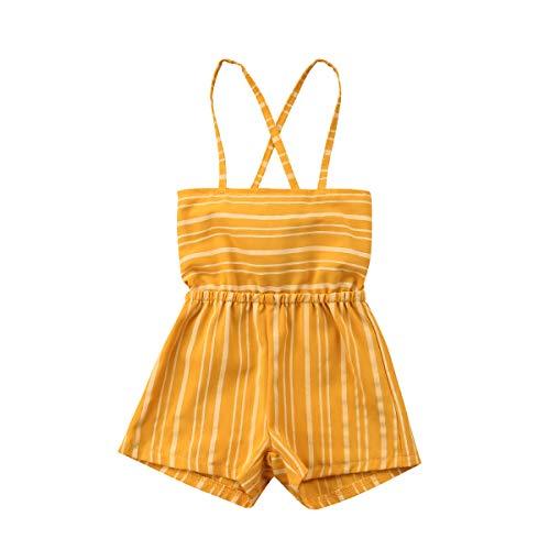 (Infant Baby Boys Girls Dinosaur Sleeveless Romper Jumpsuit Animal Outfit (Yellow, 1-2)
