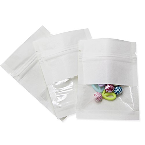 Moisture Proof Zip Lock Kraft Paper Reclosable Plastic Storage Bag for Food Rice Nuts Pack Packing with Clear Plastic Window Flat Packaging Zipper Top Pouches (2.7x3.5 inch) (100)