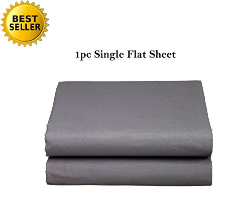 Elegant Comfort Luxury Ultra Soft Single Flat Sheet Special Treatment Construction King, Gray