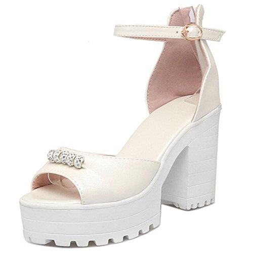 TAOFFEN Women Elegant High Heel Platform Wedding Shoes Peep Toe Ankle Strap Dress Shoes Beige