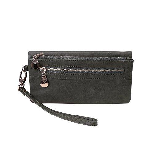 HDE Womens Soft Leather Wallet Multi-Function Zipper Clutch Wristlet (Green)