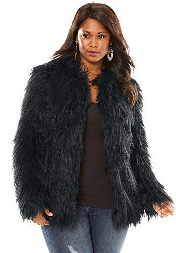Roamans Women's Plus Size Faux Fur Jacket - Black, 18/20 (Romans Coats)