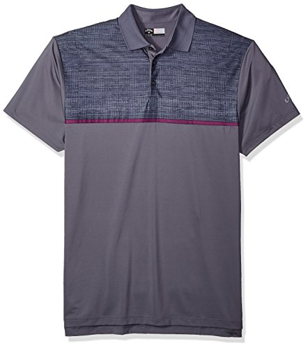 Callaway Men's Big & Tall Opti-Stretch Short Sleeve Texture Printed Blocked Polo, 2X-Large Tall, Quiet Shade