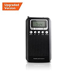 AM FM Portable Radio, Pocket Transistor Radio, Battery Operated Digital Alarm Clock Radio with 3.5mm Headphone Jack, Stereo Mode, Memory Mode and Sleep Timer