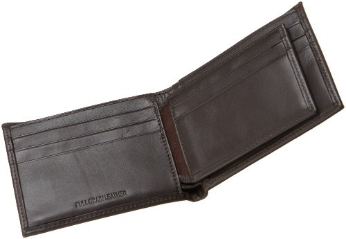 Calvin Klein Men's Leather Bookfold,Brown,One Size