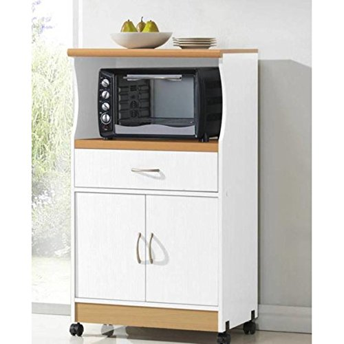 Microwave Cart with Storage Doors Drawer Kitchen Rolling Portable Cabinet Wood Unit (White)