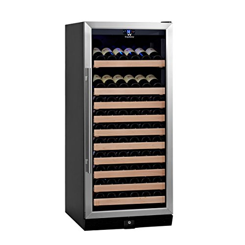 KingsBottle 98 Bottle Single Zone Wine Cooler, Stainless Steel with Glass Door