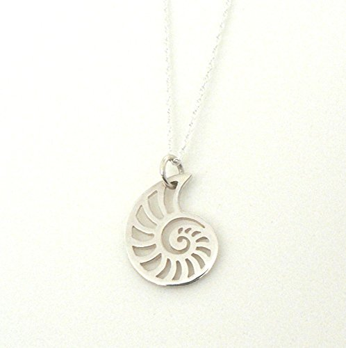 Unrealfind Nautilus Sterling Silver Charm Necklace Shell Ocean Inspired Jewelry Sea (16 Inches)