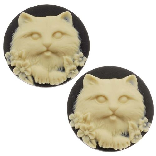 Lucite Round Cameo Black With Cream Cat's Face 25mm (2 (Cat Face Design)