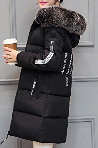 A Occasionnels Femme Fausse Super Parkas Chaude Fourrure Manteau Xl Doublé Dessus Black L'hiver Long À SwIw8q