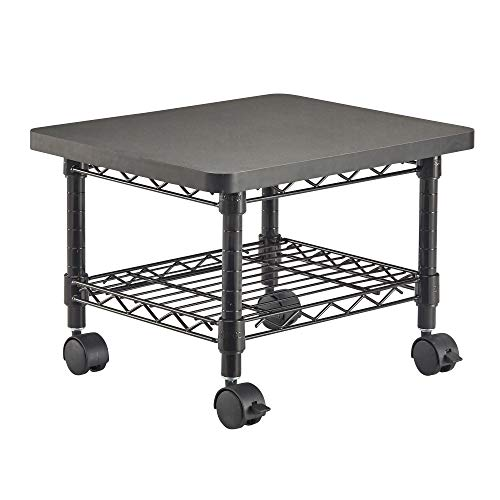 Safco Products Under Desk Printer/Fax Stand 5206BL, Black Powder Coat Finish, Swivel Wheels for ()