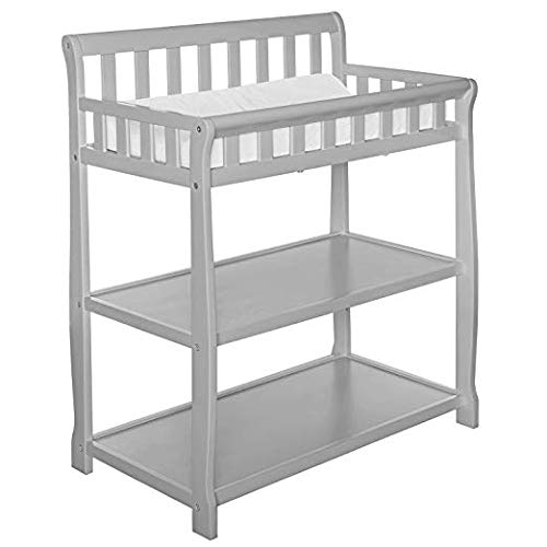 (Dream On Me Ashton Changing Table, Grey with Two Sided Contour Changing Pad, White)