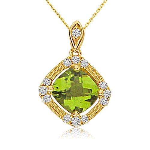 1.30 Carat (ctw) 14k Yellow Gold Cushion Peridot and Diamond Women's Beaded Pendant with 18