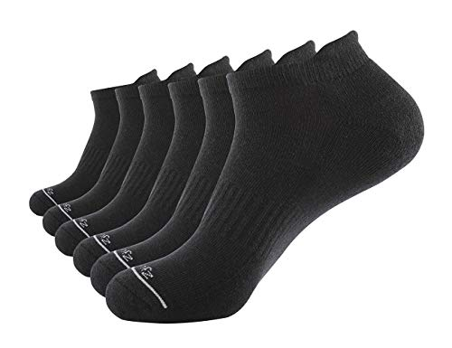 (Zjouznor 6 Pack of Cotton Performance Cushion Athletic Low Show Socks(Black))
