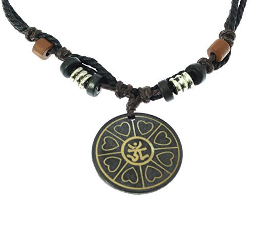 Surfer Cord Necklace with AUM OHM OM Carved Bone Pendant - Fully Adjustable - Black & Brown Cord