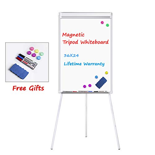 Easel White Board, WEYOUNG Portable Dry Erase Easel Board Magnetic Tripod Whiteboard Flipchart Easel Height Adjustable, White Board Easel with 1 Eraser, 3 Markers, 6 Magnets (36x24 inches) -