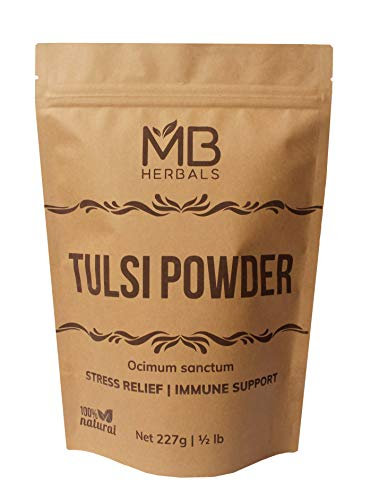 MB Herbals Tulsi Leaves Powder 227g | Half Pound | Ocimum Sanctum Tulasi | Premium Quality Diet Supplement | Tulsi Powder for A Refreshing Cup of Tulsi Tea That Boosts ()