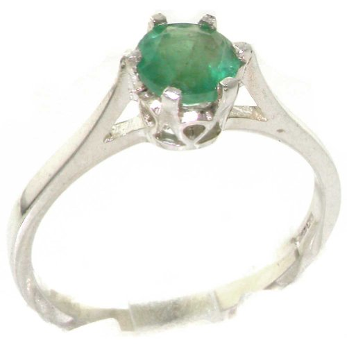 925 Sterling Silver Natural Emerald Womens Solitaire Ring   Sizes 4 To 12 Available