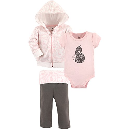 Yoga Sprout Baby Infant 3 Piece Jacket, Top and Pant Set, Pink Fox, 12-18 Months