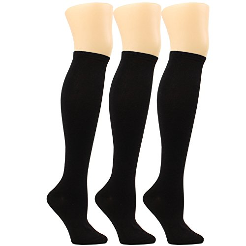 WOWFOOT Women's Knee High Socks Luxury Cotton For Girl Stylish Design Fun (E-Black - 3pair) (Cable Socks Black)