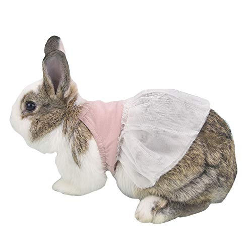 FLAdorepet Bunny Rabbit Guinea Pig Dress Summer Small Milk Mini Dog Cat Tutu Skirt Clothes for Teacup Chihuahua Yorkie Small Animal Accessories (6(Bust 8.6 inch), Pink)