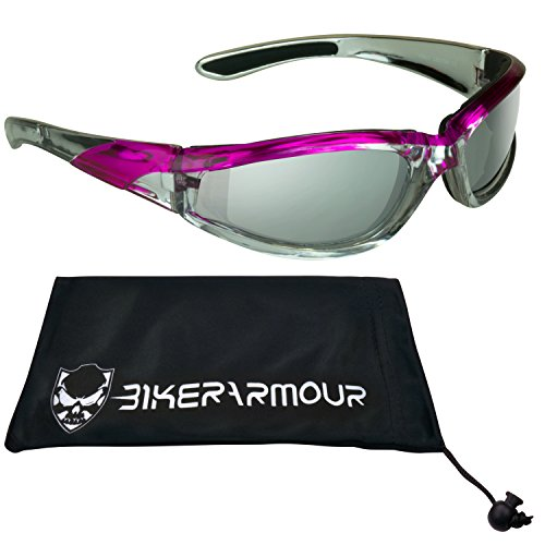 Chrome and Pink Motorcycle Sunglasses Foam Padded with Anti Glare Smoke lenses for Women.