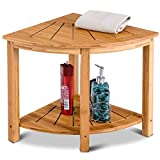 Shower Beach Bamboo Spa Seat Stool Bathroom Organizer with Storage Shelf Corner
