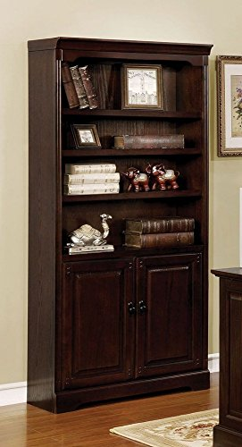 Furniture of America CMDK6384S, Book Shelf with Transitional Style, Multiple Drawers, Antique Style Handles, Solid Wood, Wood Veneer, Others in Dark (Antique French Bookcase)