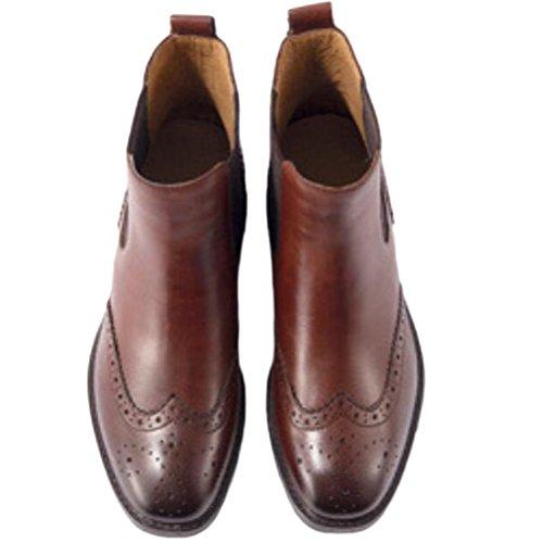 Vogstyle Damen Leder Schuhe Chelsea Boots mit Blockabsatz Art 2 Braun