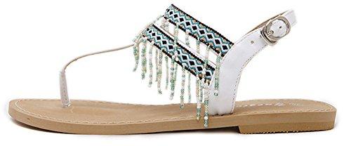 Franges Blanc Traditionnel Femme Aisun Chic Cool Talon Strass Sandales Voyage Plat FSXwOqyH
