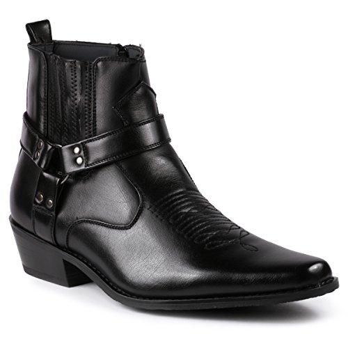Metrocharm Diego-02 Men's Belt Strap Studded Western Cowboy Boots (13 D(M) US, Black)
