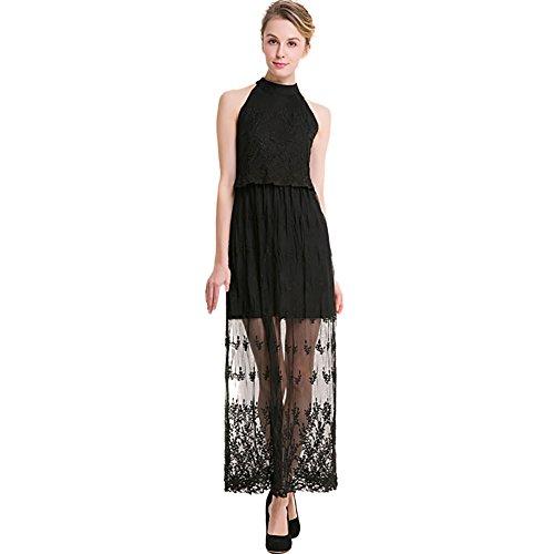 Sungpunet Women Sexy Black Long Maxi Halterneck Gown Sleeveless Lace Bridesmaid's Dress