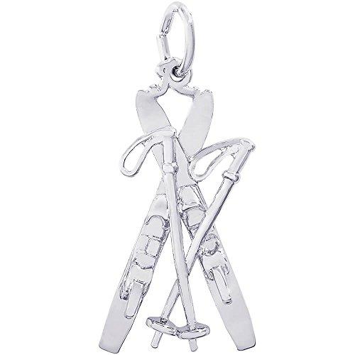 Charm Sports Snow Ski - Rembrandt Charms Sterling Silver Skis Charm (14 x 22 mm)