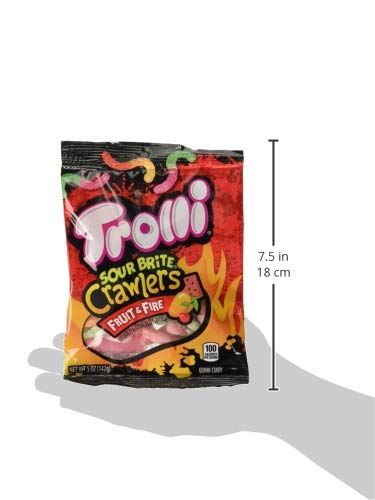 Trolli Sour Brite Crawlers Gummy Worms Fruit & Fire, 5 Ounce Peg Bag (Pack of 12) Sweet, Sour & Spicy Gummy Worms by Trolli (Image #5)