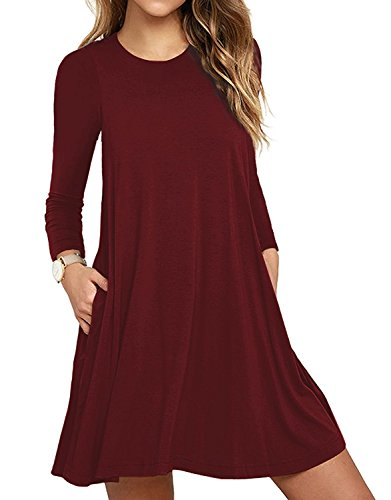 HAOMEILI Women's Long Sleeve Pockets Casual Swing T-Shirt Dresses (Large, Long Sleeve-Wine -