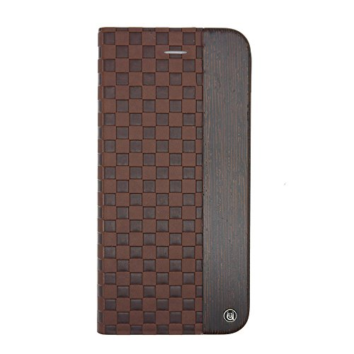 Uunique Mode en bois Checker Folio Coque rigide en relief pour iPhone 6/6S – Marron