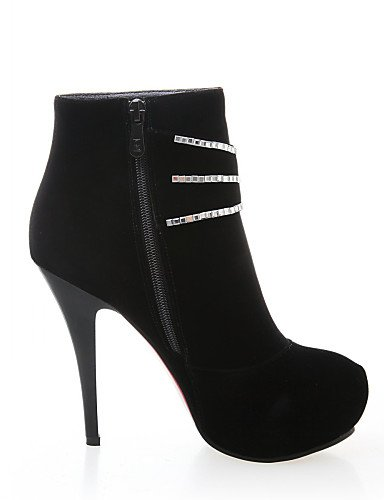 Eu38 Black Casual us8 De Plataforma us7 Semicuero Cn38 Black Negro Xzz Stiletto Zapatos Mujer Cn39 Anfibias Botas Tacón Puntiagudos Uk6 5 Eu39 5 Uk5 7wFORzFq5