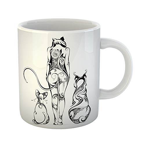 Emvency Coffee Tea Mug Gift 11 Ounces Funny Ceramic Mistress Cat Woman Surrounded By Animal Ears Gifts For Family Friends Coworkers Boss Mug ()