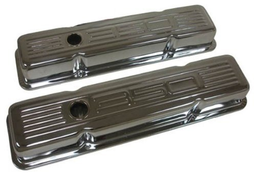 - 1958-86 Chevy Small Block 350 Tall Steel Valve Covers - Chrome w/ 350 Logo