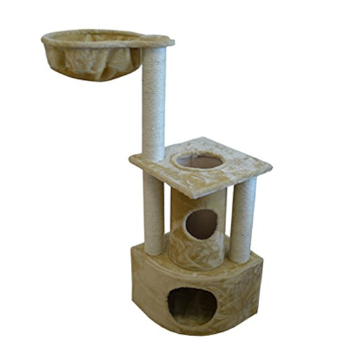 Iconic Pet Peek-a-Boo Cat Tree Condo Furniture in Beige Color - Multiple Sisal Scratching Post Towers, Durable Kitty Condo House, Works As Feline Activity Center, Elegant for Cats/Kittens