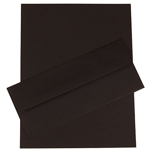 JAM Paper Business Stationery Set - #10 Envelopes (4 1/8'' x 9 1/2'') & Matching Letter Paper - Black Linen Recycled - 50/pack by JAM Paper