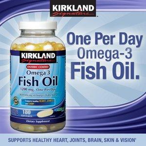 Kirkland Signature entérique enduit d'huile de poisson Omega 3 1200 mg d'huile de poisson, 684 mg d'oméga-3 Fatty Acids, 180 gélules