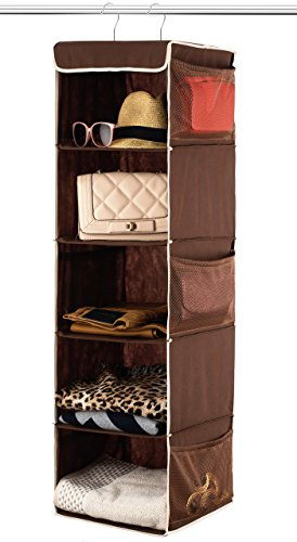 Zober 5 Shelf Hanging Closet Organizer Space Saver, Roomy Breathable Hanging Shelves With (6) Side Accessories Pockets, And 2 Sturdy Hooks, For Clothes Storage, And Shoes, Etc. 12 x 11  x 42 In, Java