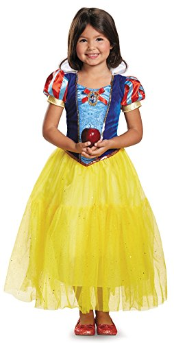 Snow White Costumes For Kids (Deluxe Disney Princess Snow White Costume, One Color, Small/4-6X)