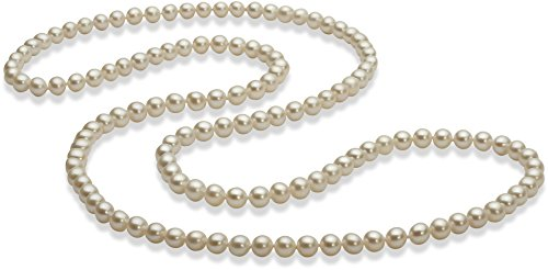 PearlsOnly - 30 inches White 5-6mm AAA Quality Freshwater White Bronze Cultured Pearl Necklace by PearlsOnly