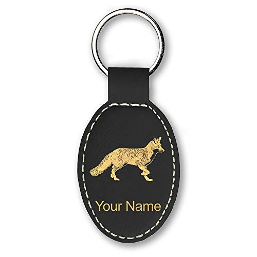 Oval Keychain, Fox, Personalized Engraving Included (Black) (Fox Keychain)