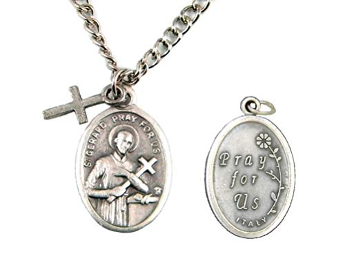 PlanetZia Creations St. Gerard Patron Saint of Expecting Mothers Oval Pendant Necklace with Cross TVT-621-1
