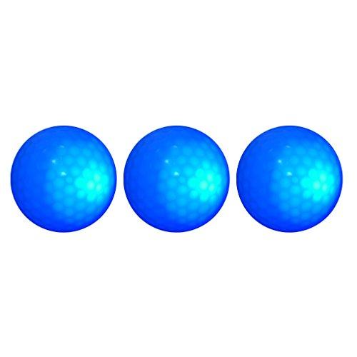 MagiDeal 3 Pieces Glow In Dark Blue LED Light Up Golf Ball Tournament Ball